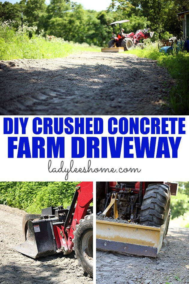 A crushed concrete driveway might be a much cheaper alternative to the traditional gravel. Read the story of our DIY crushed concrete driveway and decide for yourself! #crushedconcrete #diydriveway #crushedconcretedriveway #alternativebuilding