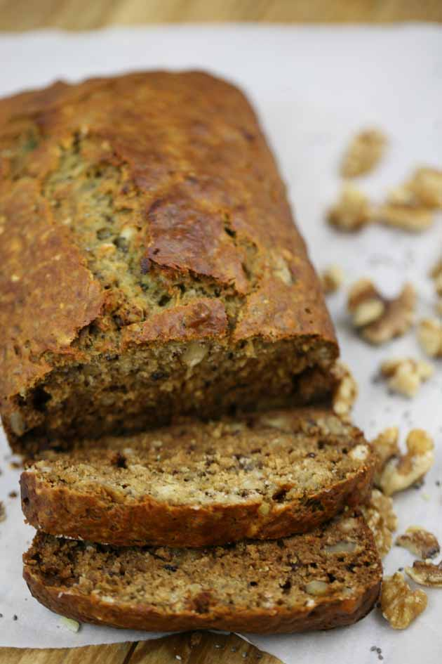 Super simple healthy banana bread recipe. Just a few minutes to put together. This recipe is sugar-free! Add nuts and chia seeds to make it even healthier!
