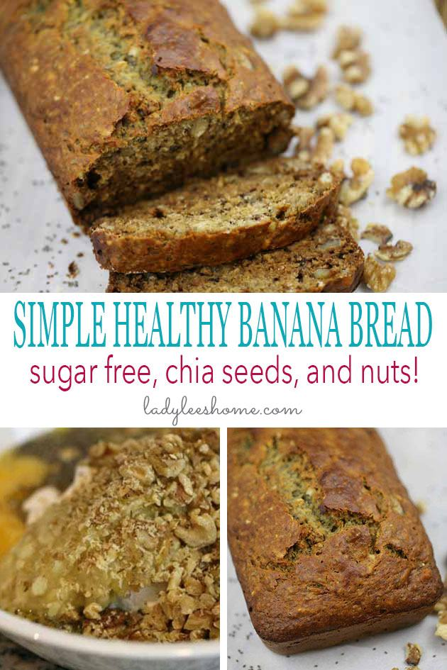 Super simple healthy banana bread recipe. Just a few minutes to put together. This recipe is sugar-free! Add nuts and chia seeds to make it even healthier! #simplehealthybananabread #easybananabread #bananabreadrecipe #bananabread #sugarfreebananabread