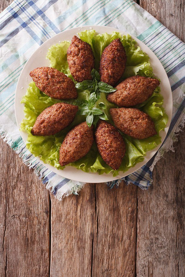 Kibbeh with bulgur wheat.