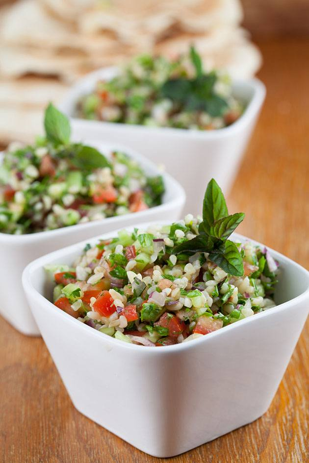 Tabbouleh salad with bulgur wheat.