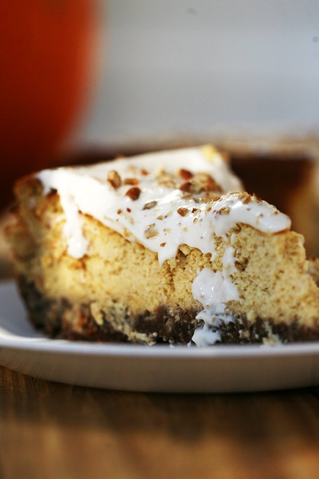 Pumpkin cheesecake with ginger snaps and pecan crust. It's not too sweet and has a thick, nutty crust. A great fall dessert!