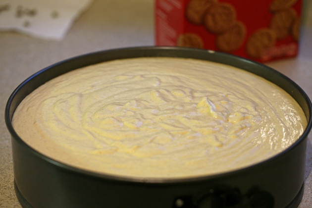 Pumpkin cheesecake with gingersnap crust is ready for baking.