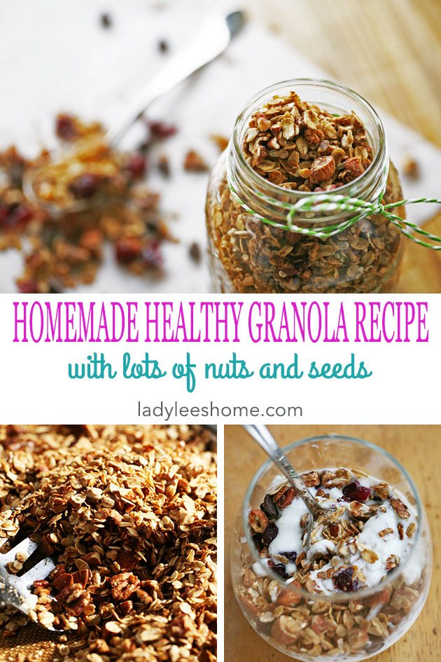 A healthy granola recipe that is very simple to put together. It is full of nuts and seeds, honey and coconut oil. A super healthy snack or meal! #granola #granolarecipe #homemadegranola #healthysnack #snackrecipe #easyrecipes #healthyfoodrecipes