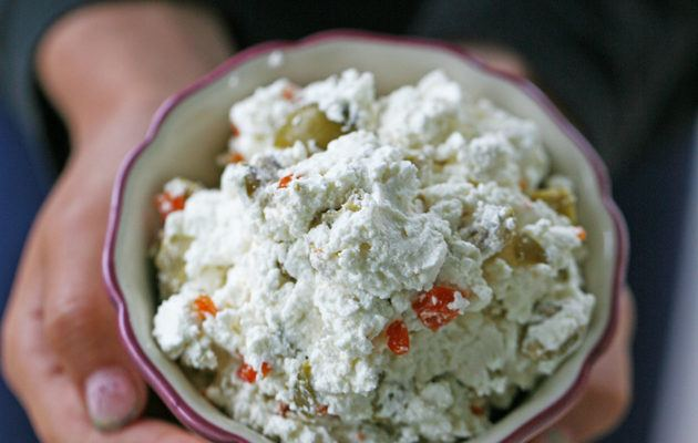 Super Simple Homemade Chevre Cheese With Olives