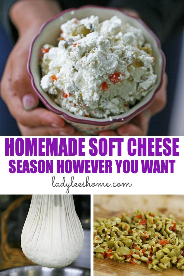 This homemade soft cheese is simple to make. It is delicious and you can season it however you want. It's a basic homemade soft cheese recipe that you can make with store-bought or raw milk. #homemadesoftcheese #softcheese #howtomakesoftcheese #cheesemaking