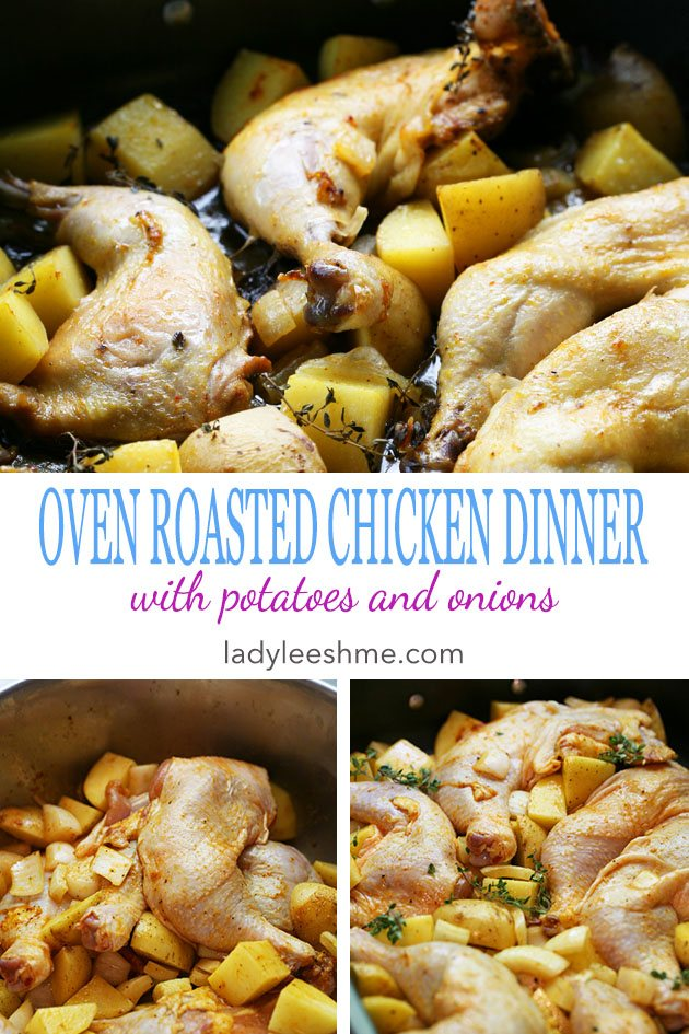 This is a simple oven roasted chicken dinner with potatoes and onions. It's super easy to make and it's a whole meal in one pan! #chickendinner #chickenrecipes #easydinner #roastedchicken #easydinnerrecipes #chickenrecipes