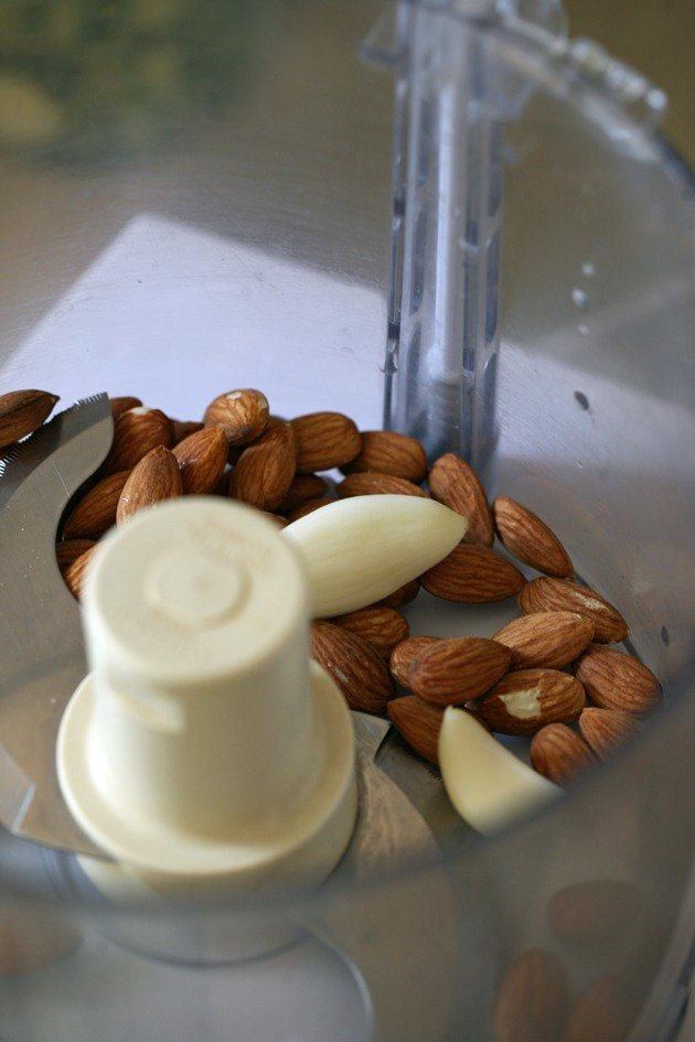 Almonds and Garlic in the food processor