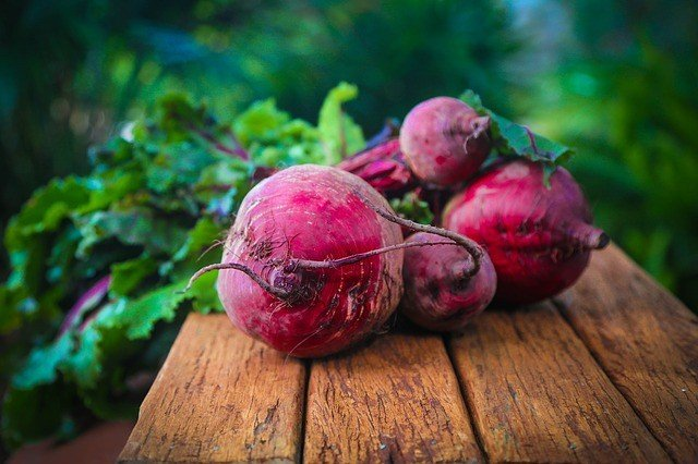 Beautiful beets on a table.