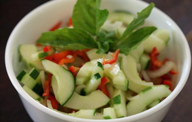 Cucumber Salad With Peppers and Onions