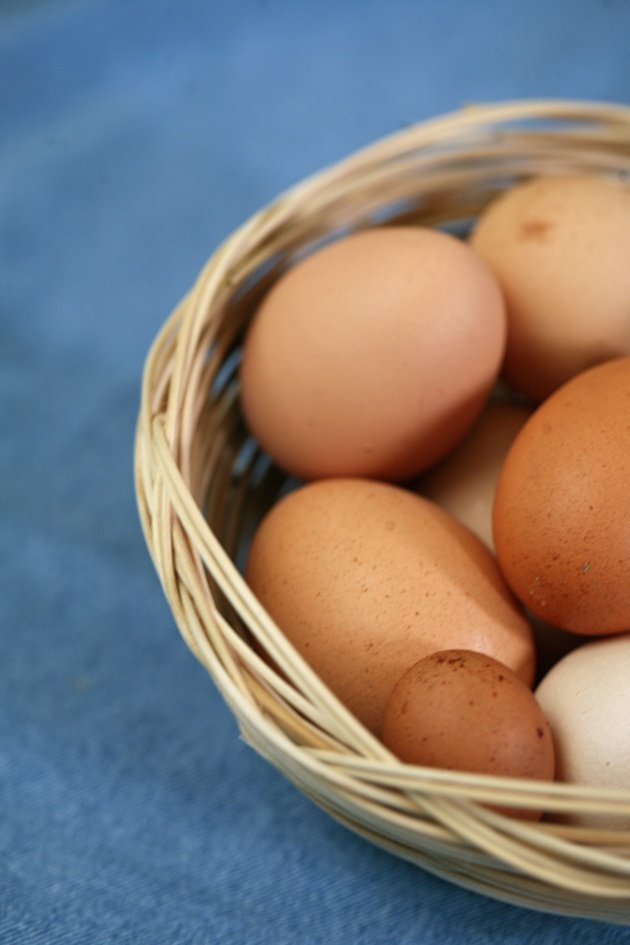 Eggs in a simple round basket