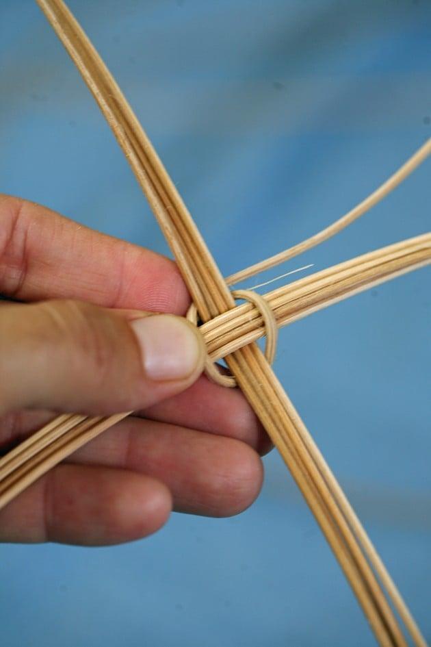 Reed basket making - stating to weave.