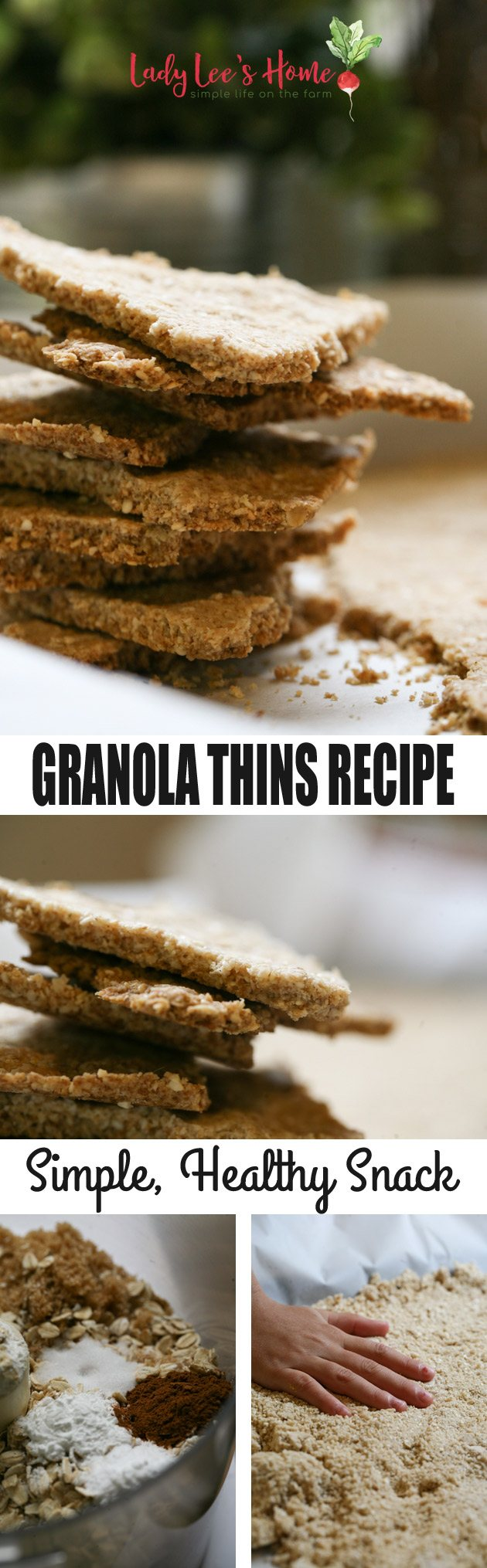 Easy and healthy granola thins recipe that you can add anything you'd like to. A great snack or breakfast! #LadyLeesHome #granola #snack #easyrecipes #healthyrecipes