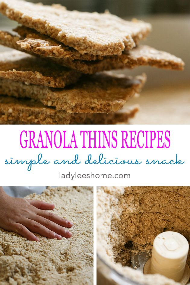 Easy and healthy granola thins recipe that you can add anything you'd like to. A great snack or breakfast!  #granola #snack #easyrecipes #healthyrecipes #granolacookies #granolathins #cookierecipe #simplecookies