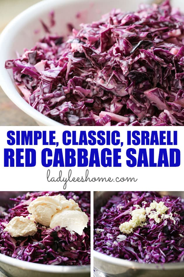 This red cabbage salad is an Israeli classic! It's very easy to put together and it's fresh and garlicky. You can make a large batch of it and leave it in the fridge for a few days which makes it a great party salad!