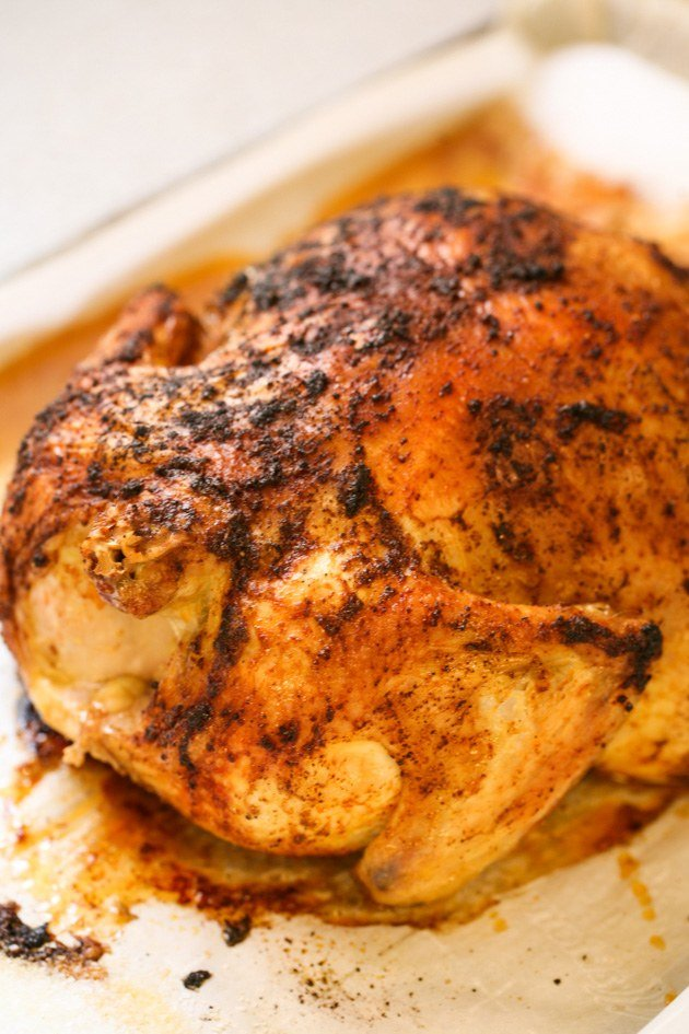 This is a very simple recipe for Roasted Chicken In salt. The salt doesn't touch the chicken but instead absorbs the juices while the chicken is roasting leaving the skin crispy and the meat falling off the bone.