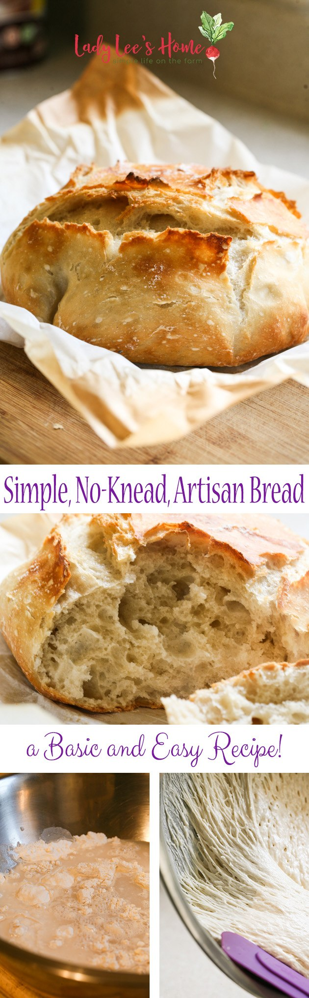 A simple, no-knead, artisan bread. This is a simple basic recipe that everyone should have on hand. This bread has a hard crust and is so soft inside. It is beautiful and tasty!