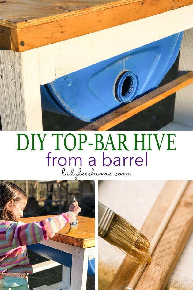 DIY top bar hive from a barrel. A step by step picture tutorial on how we made our top bar bee hive. It is a fairly easy project and very inexpensive. Can be completed in just a few hours. #beekeeping #homesteading #topbarbeekeeping #topbarbeehive #beehiveplans #diybeehive