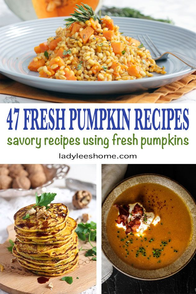 In this post, you will find 47 pumpkin recipes. This is a collection of so many delicious fall recipes. 47 savory fall dishes using fresh pumpkin. Pumpkin soup recipes, pumpkin ravioli and pasta, pumpkin hummus, and much much more. You can come back to this post and pick something different to try each time. #pumpkinrecipes #thanksgivingpumpkinrecipes #fallrecipes #fallcooking #pumpkinsoup #deliciousfallrecipes #fallrecipeideas #recipesforfall #falldishes #freshfallrecipes #ladyleeshome