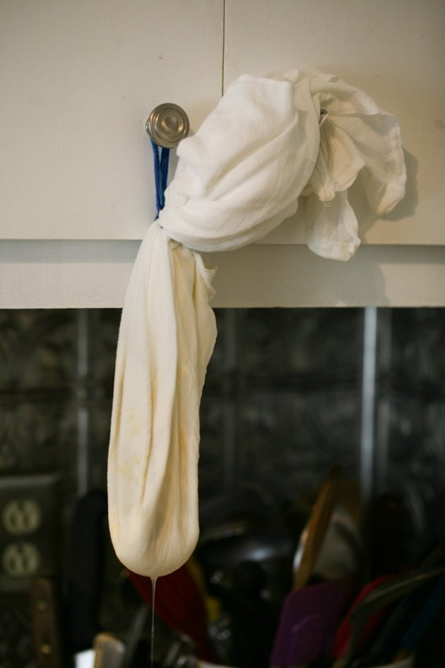 Hanging ricotta to drain