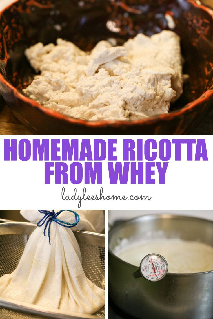 A step-by-step tutorial on how to make ricotta from whey. Making ricotta cheese from left-over whey is simple and quick! It's creamy and delicious. #ricottafromwhey #homemadericotta #cheesemaking #howtomakericottafromwhey