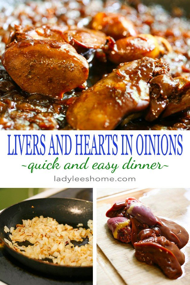 This is a super simple liver and onions recipe. I actually added hearts too just because I had them, they went very well with the livers. It doesn't take long to put this dish together and it's very yummy! If you like livers, you'll like this simple liver and onions recipe.  #liveronionsrecipe #chickenlivers #chickenliversandonions #chickenliverrecipe #chickenrecipes #liversrecipe #dinnerideas #easydinner #simpledinnerideas #dinnerrecipes