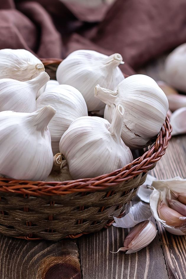 A basket of white garlic.