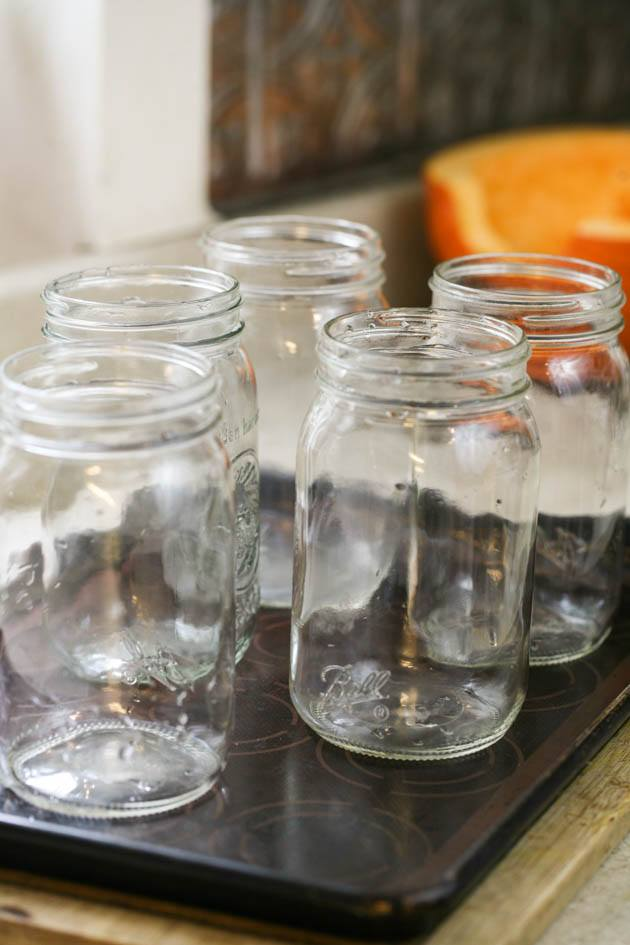 Preparing the jars for canning.