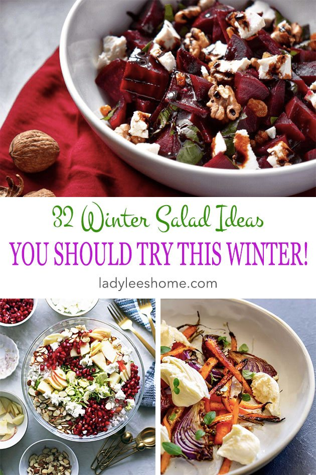 Winter vegetables are so delicious and filling. Some of those salads are a full meal on their own. You'll find in this post 32 winter salad ideas to try this winter. #wintersaladideas #saladrecipes #easysalads #saladdinner #easydinnerrecipes #healthyfood #healthydinnerrecipes