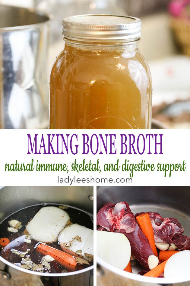 Making bone broth at home is simple! It's packed with proteins, minerals, vitamins, and other nutrients to help us support a healthy body naturally. Learn about the health benefits of bone broth and how to make it and use it in this tutorial. #bonebroth #bonebrothrecipe #howtomakebonebroth #makingbonebroth #healthbenefitsofbonebroth #chickenbroth #beefbroth