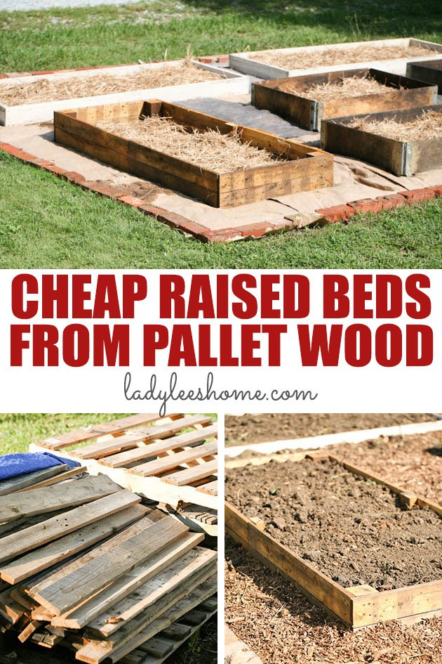 How to make raised beds cheaply using pallet wood. You can source this wood free and the construction is super easy and fast! This is a step by step picture tutorial on how to build a raised bed cheaply.  #woodpalletprojects #diyraisedbed #raisedgardenbed #diyraisedgardenbed