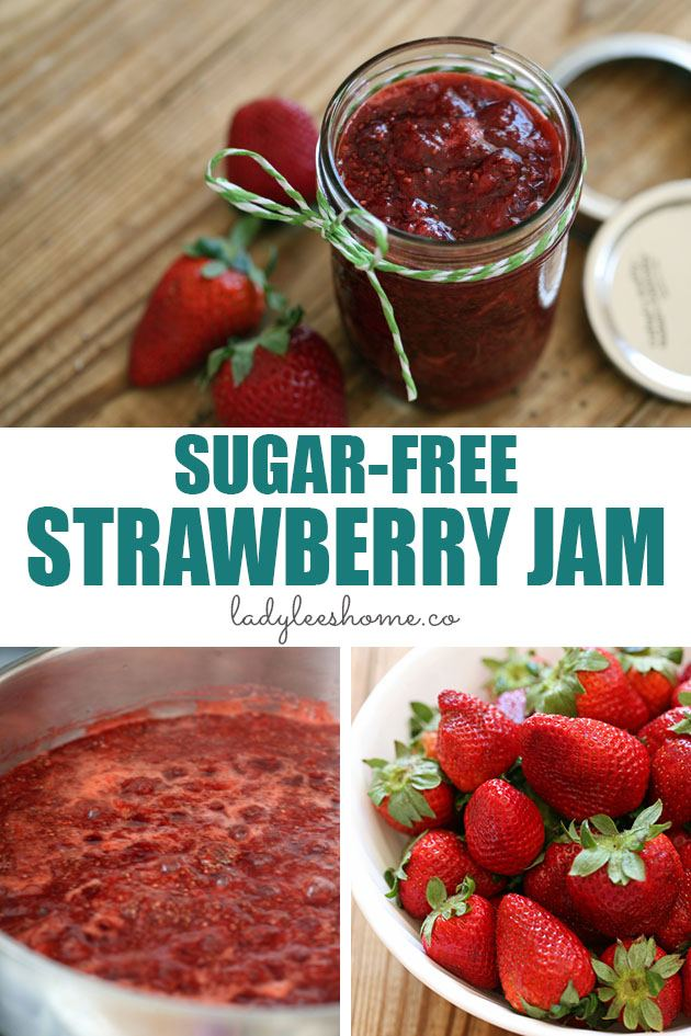 Easy to make sugar-free strawberry jam with no store-bought pectin. A step-by-step picture tutorial for a sugar-free strawberry jam recipe. #sugarfreestrawberryjam #strawberryjam #strawberryjamrecipe #howtomakestrawberryjam