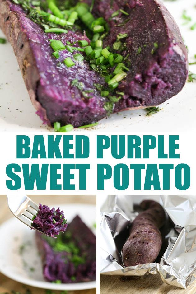 A delicious baked purple sweet potato that can be topped with a million different things! A very healthy and filling dish. #purplesweetpotato #purplesweetpotatorecipes #bakedsweetpotato