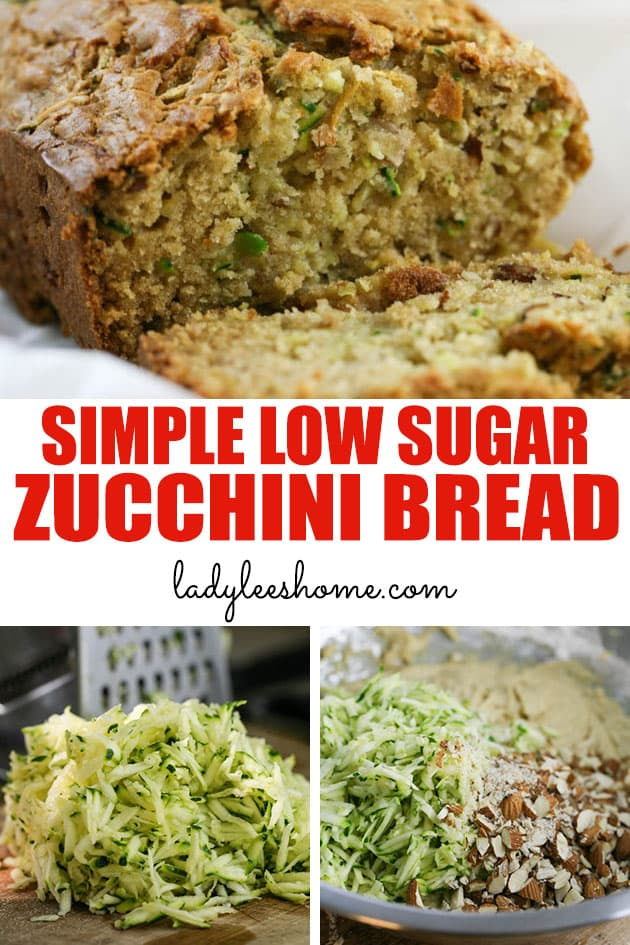 Low sugar zucchini bread that is moist, dense, and really simple to put together. You can add chocolate chips or nuts or dry fruit and make it a tiny bit different each time.