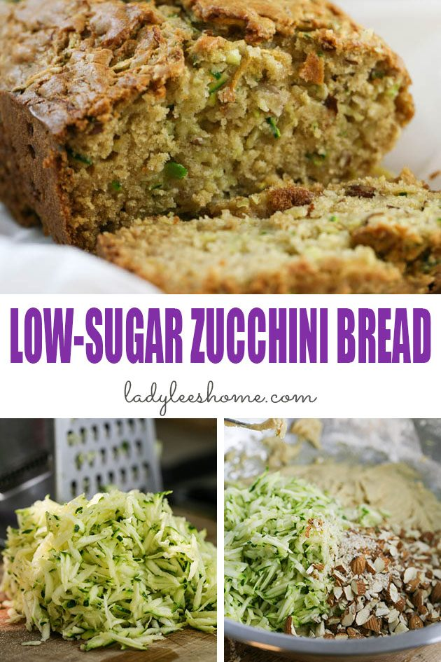 Low sugar zucchini bread that is moist, dense, and delicious. This low sugar zucchini bread is quick and easy to make and can be used for breakfast or a snack. #lowsugarzucchinibread #healthyzucchinibread #zucchinibreadrecipe