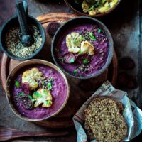 Roasted Purple Sweet Potato & Cauliflower Soup