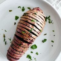 Hasselback Purple Sweet Potatoes with Ghee and Parsley