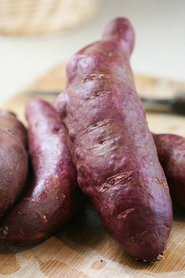 Washed sweet potatoes