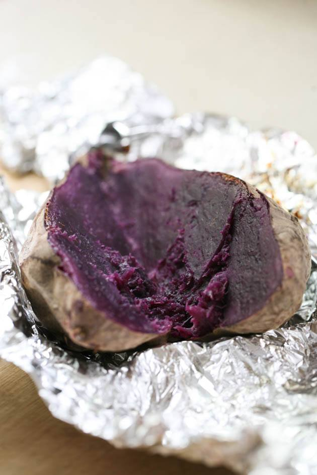 Sliced purple sweet potato
