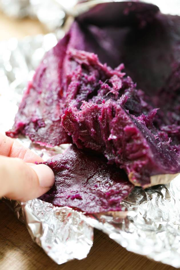 Peeling Purple Sweet Potatoes