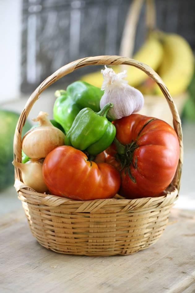 Basket of vegetables for shakshuka