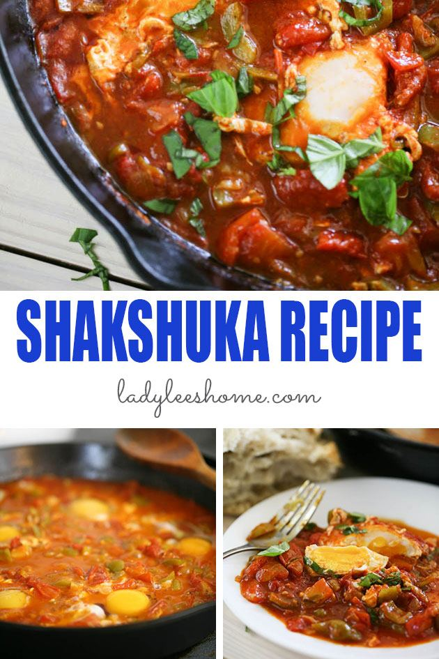 This is a healthy shakshuka recipe. Eggs cooked in a delicious tomato sauce with peppers, onions, and garlic in a true Middle-Eastern style. #healthyshakshukarecipe #shakshukarecipe #israelishakshuka