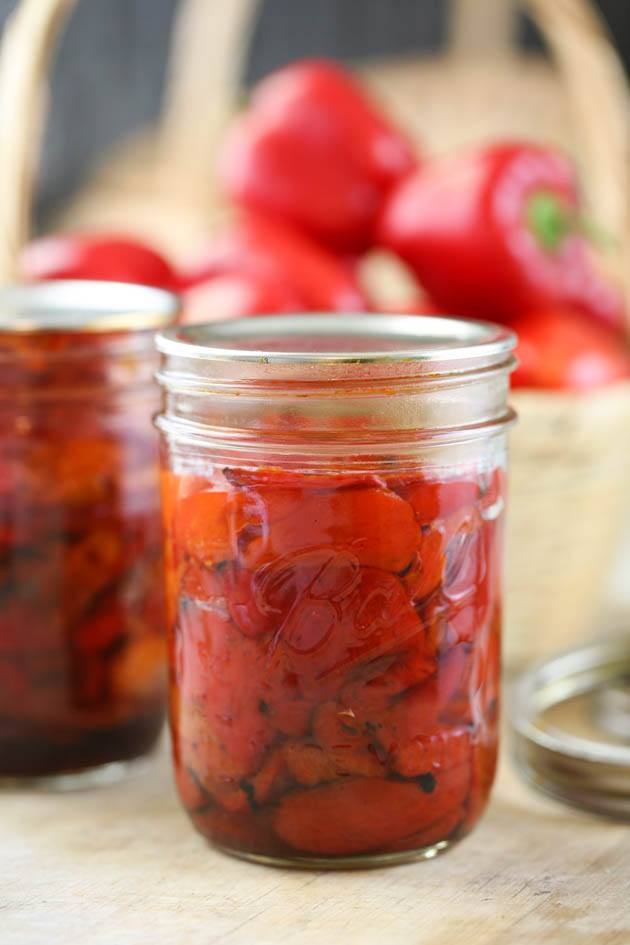 A jar of home canned peppers.