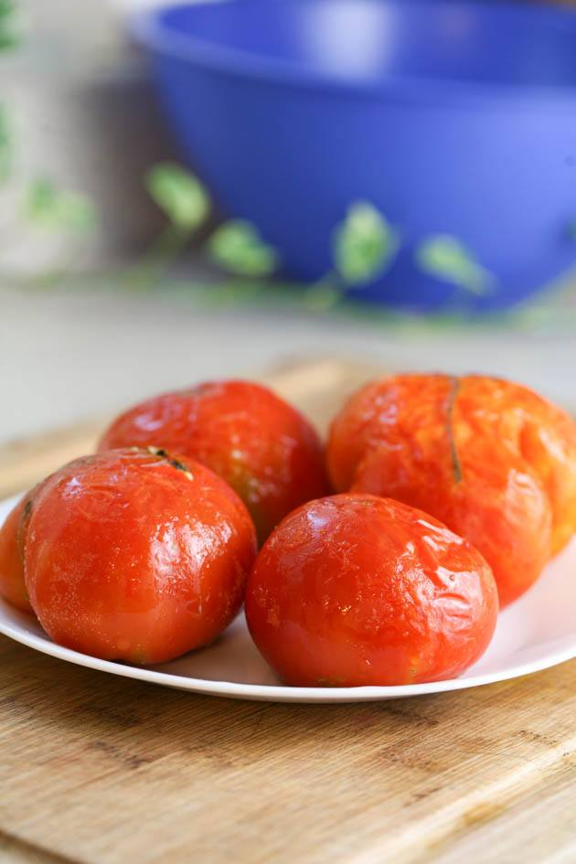 Frozen tomatoes thawing.