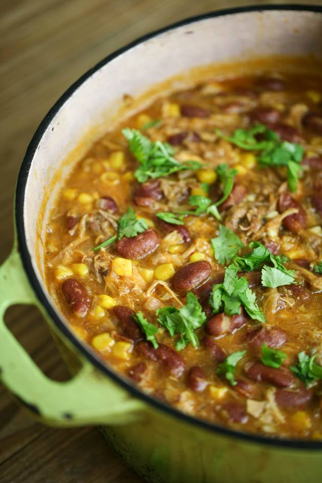 A pot of Southwest Chicken Chili.
