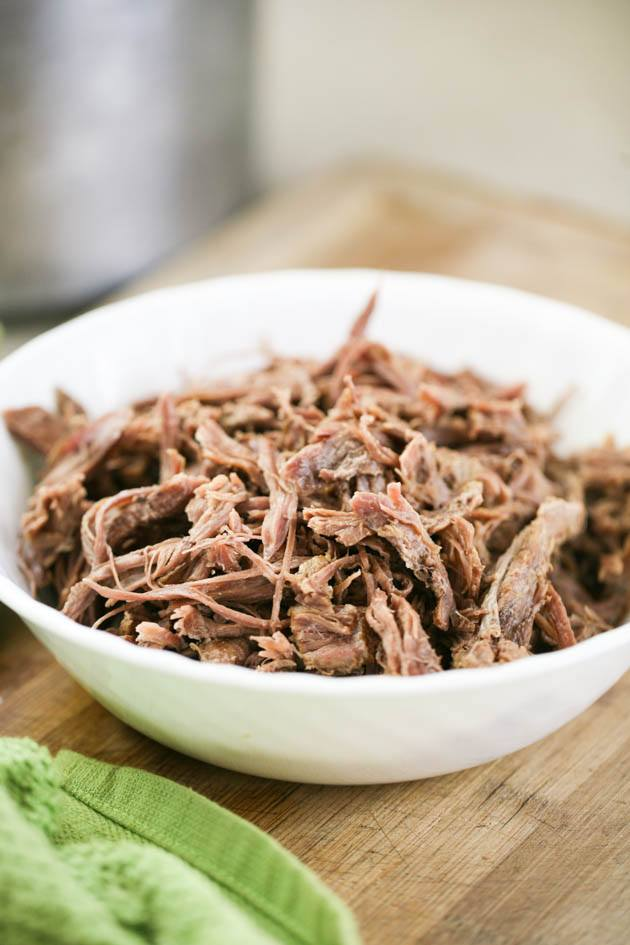 Pulled venison neck meat.