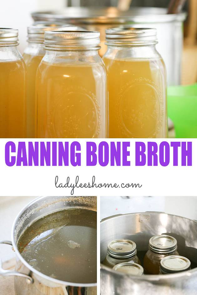 A step-by-step picture tutorial on how to can bone broth. Caning bone broth is easier than you think! Just a few steps and you'll have your own canned bone broth. #canningbonebroth #bonebroth #canningbonebrothrecipe #howtocanbonebroth