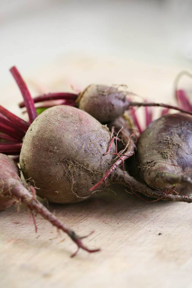 Unwashed beets from the garden.