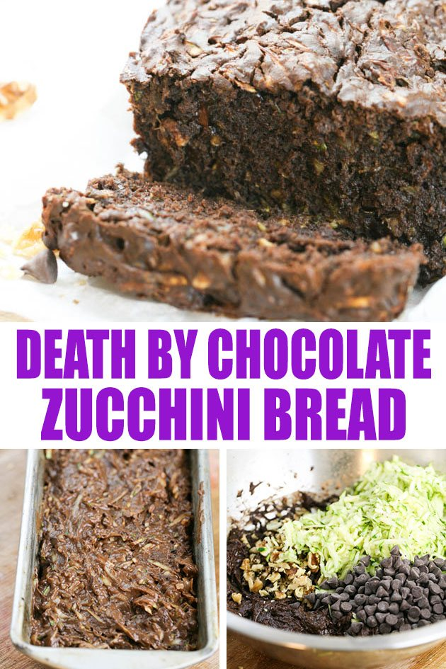 Super simple death by chocolate zucchini bread recipe. An easy to put together, delicious chocolate zucchini bread that the whole family is going to love! #chocolatezucchinibread #zucchinibread #deathbychocolatezucchinibread