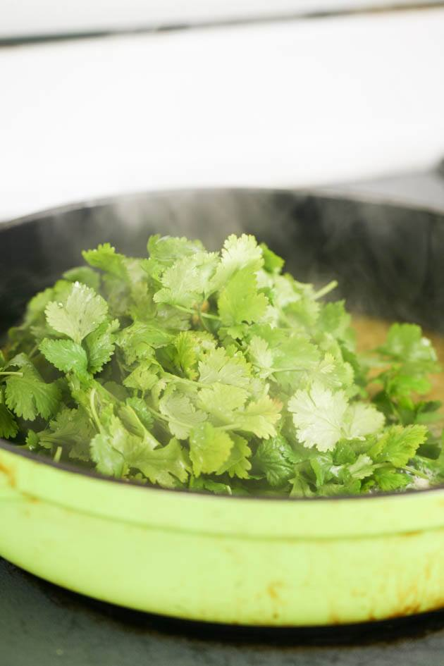 Adding the cilantro.